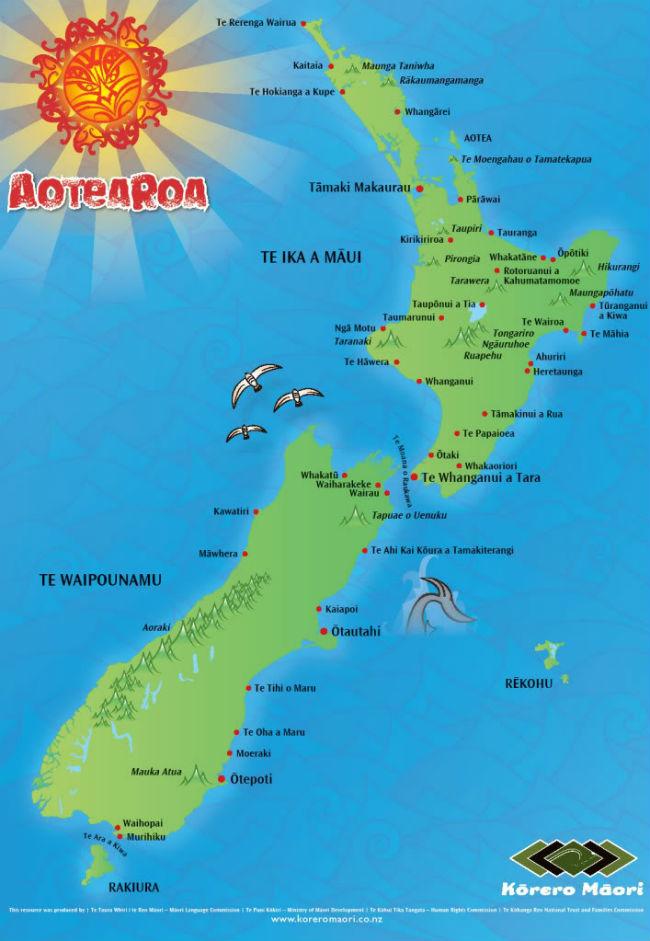 Карта георафических названий на языке маори