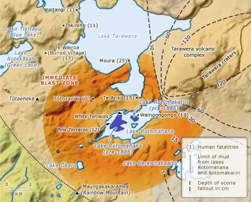 Район озера Ротомахана до извержения вулкана Таравера в 1886 году